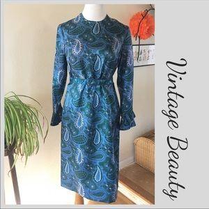 VTG Paisley Print Blue 3/4 Sleeve Luncheon Dress S
